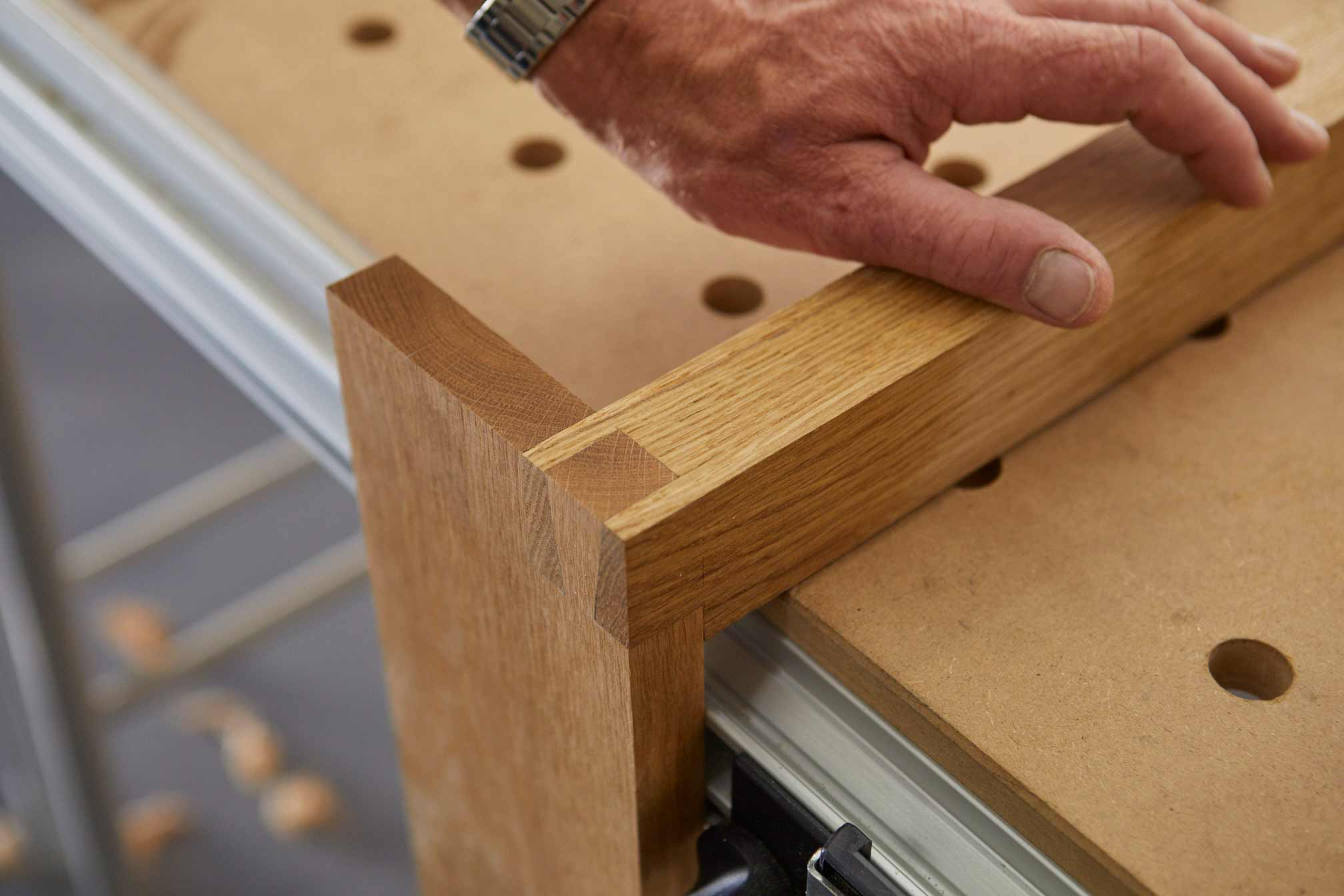 Joint detail Richard building bespoke furniture in St Merryn Cornwall