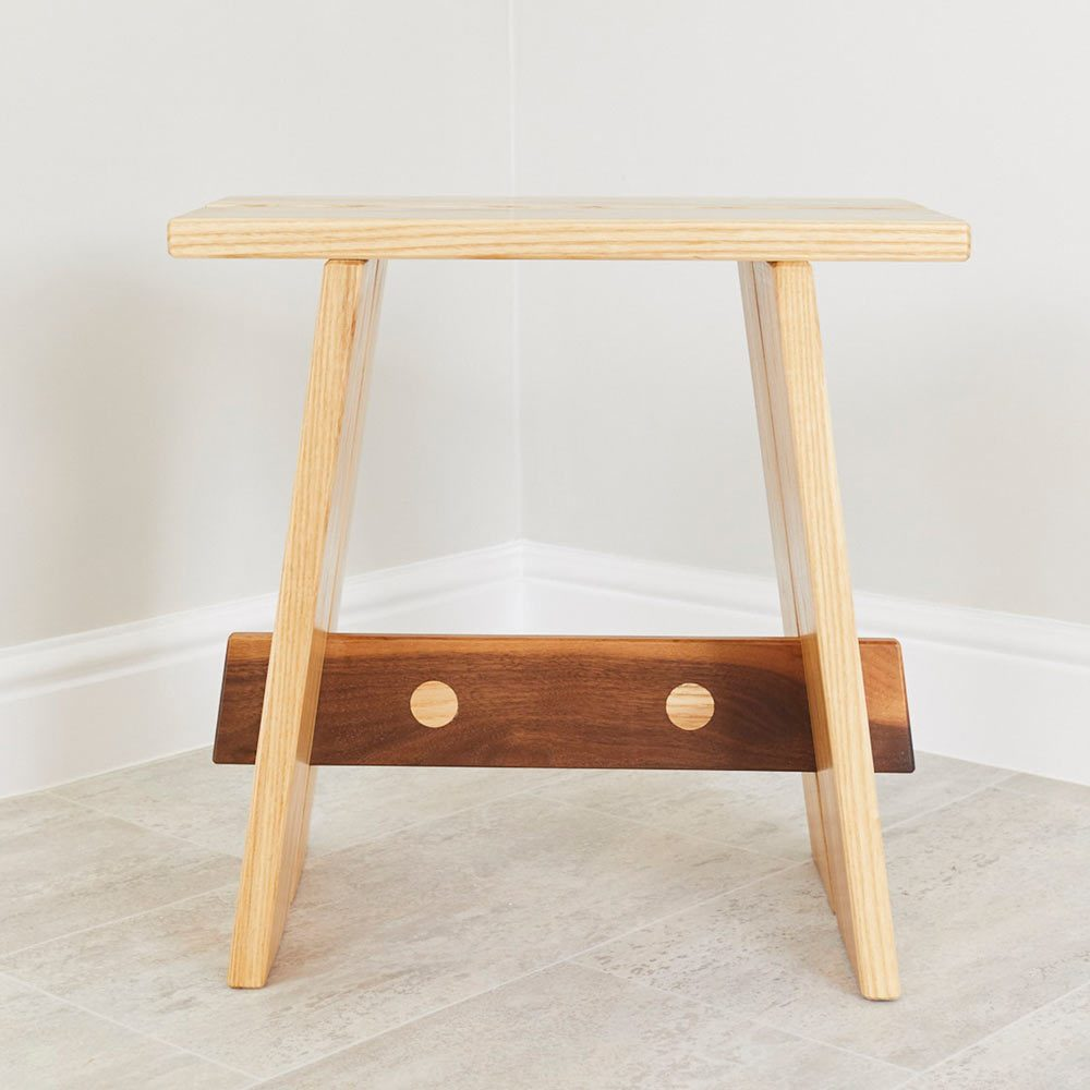 Side profile Ash and Walnut Duel Stool furniture design by Richard Pearce woodwork and joinery Cornwall