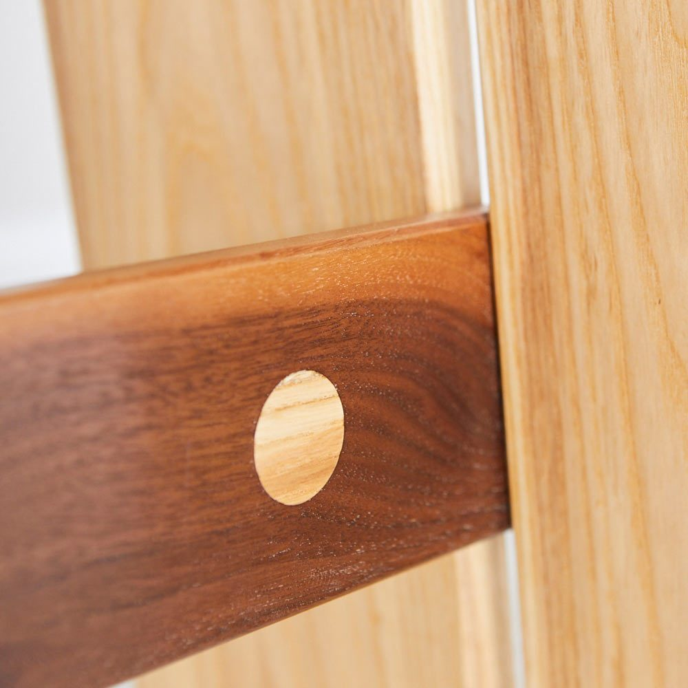 Joinery detail Ash and Walnut Duel Stool furniture design by Richard Pearce woodwork Cornwall