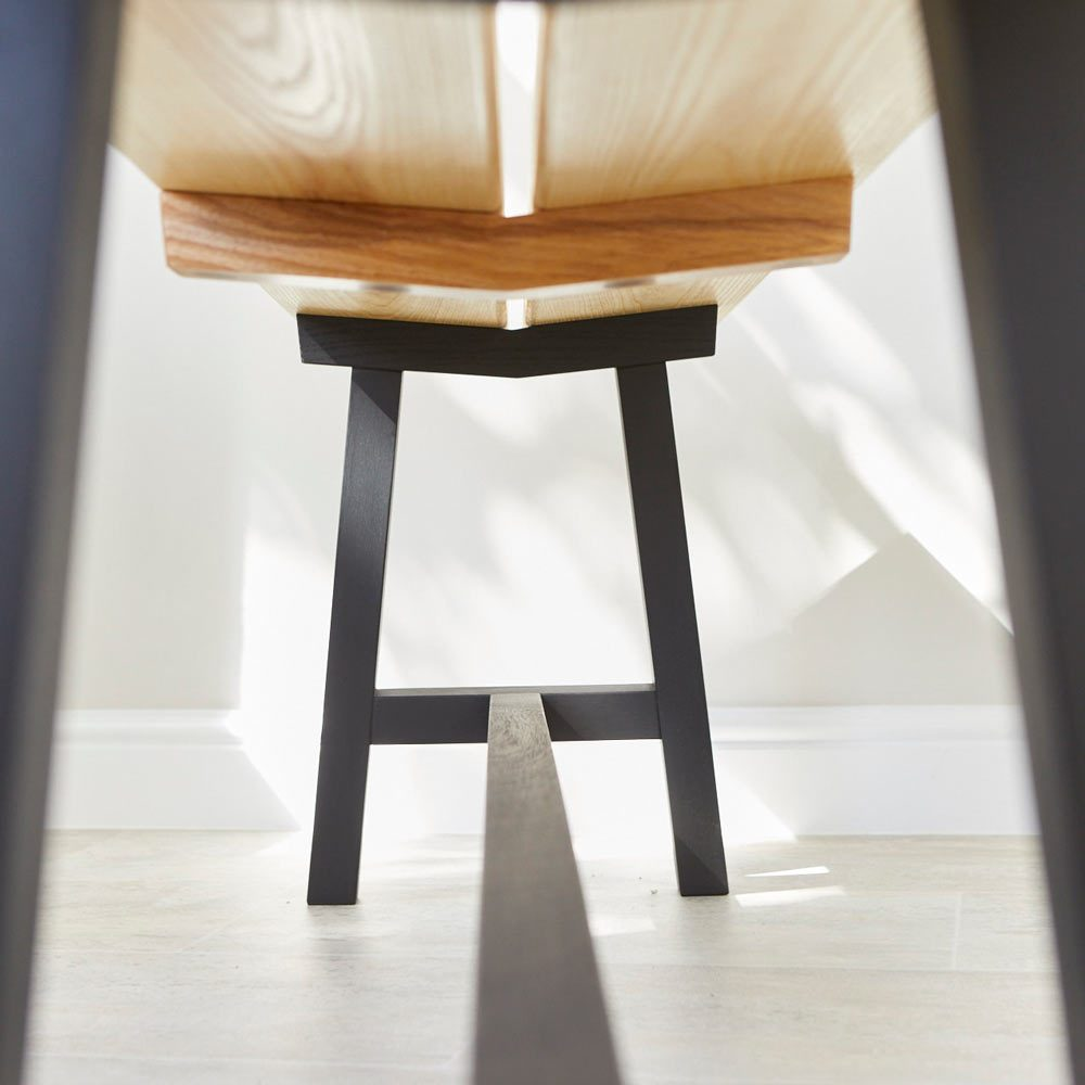 Detail of Modern Ash Long Bench by Richard Pearce Woodwork and Joinery Cornwall