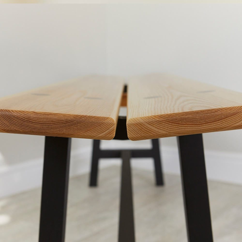 Side profile of Modern Ash Long Bench by Richard Pearce Woodwork and Joinery Cornwall