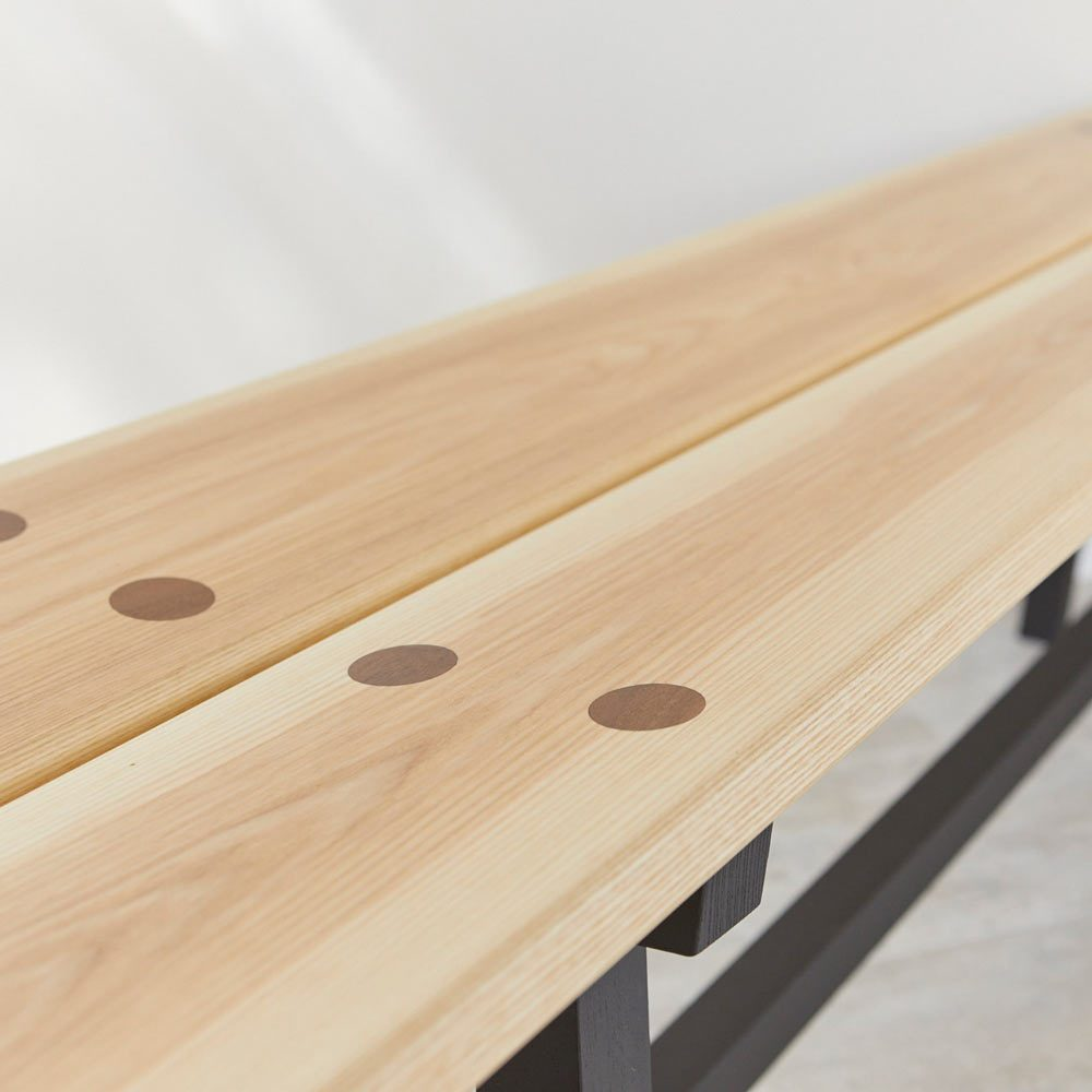 Detail of top joins of Modern Ash Long Bench by Richard Pearce Woodwork and Joinery Cornwall