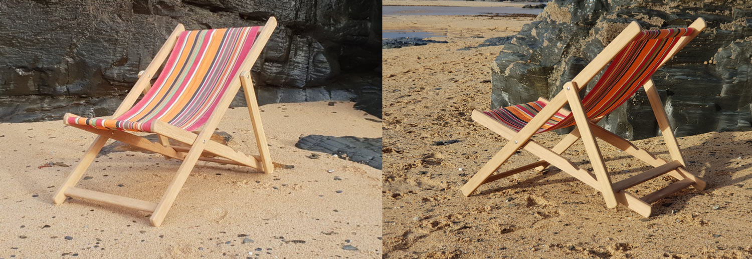 front and back view of handmade wooden deckchair near padstow beach cornwall