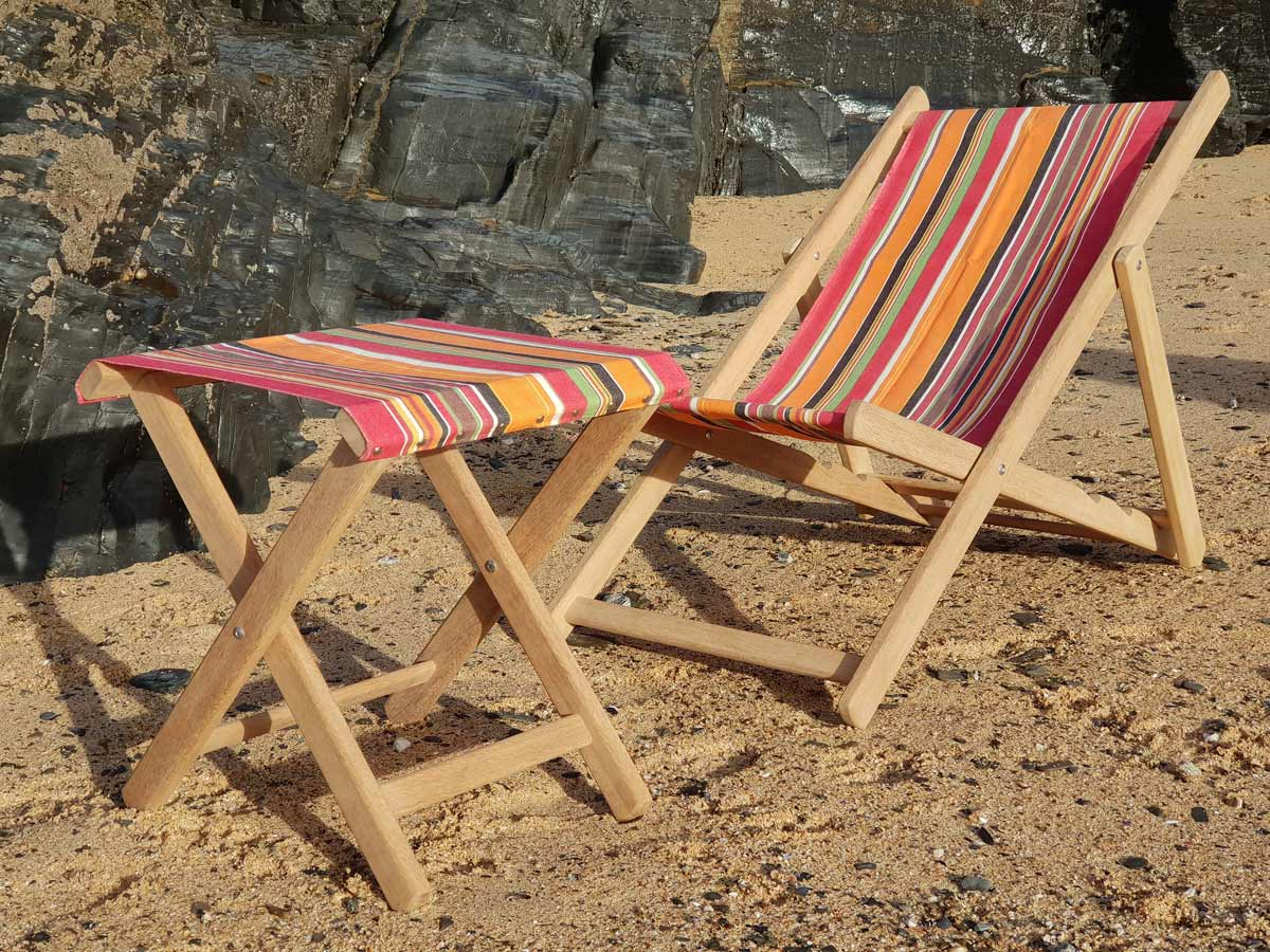 handmade deckchair and stool cornwall joinery