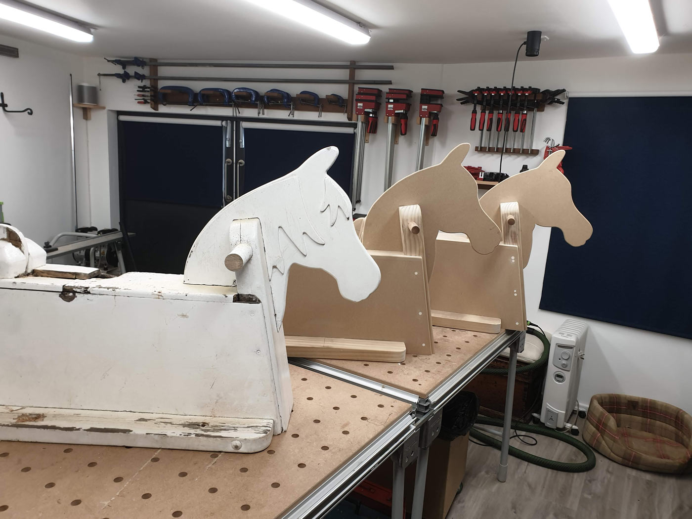 two new rocking horses made of mdf and pine for childrens park st merryn cornwall