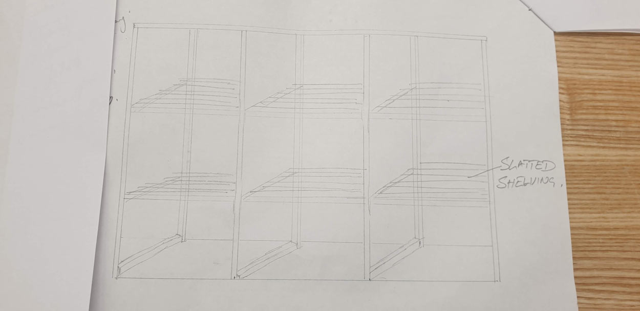 Summer house shelving joinery plan drawing 2