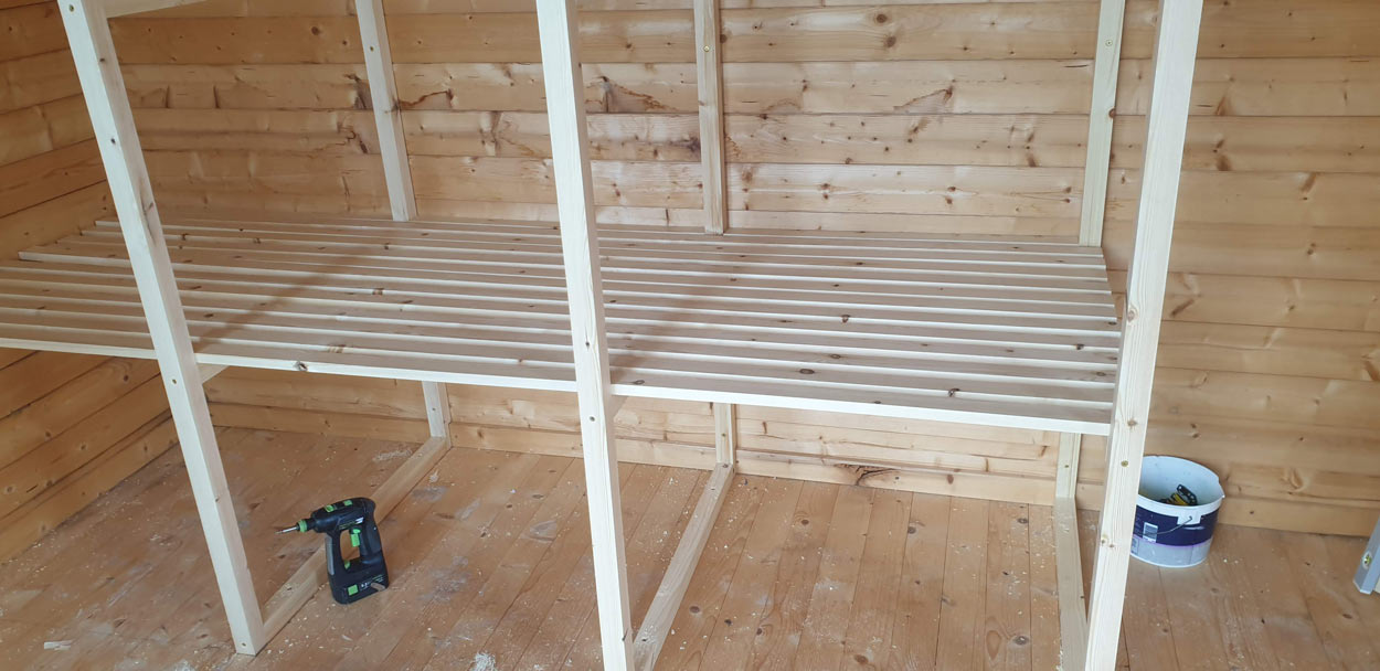 Summer house joinery shelving 2